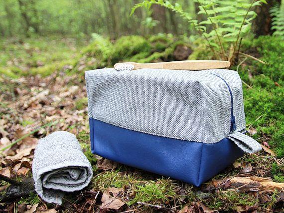 Cosmetic bag: Medium toiletry bag blue Navy travel organizer Cosmetic bag vegan Mens dopp kit Fathers day gift Personalized