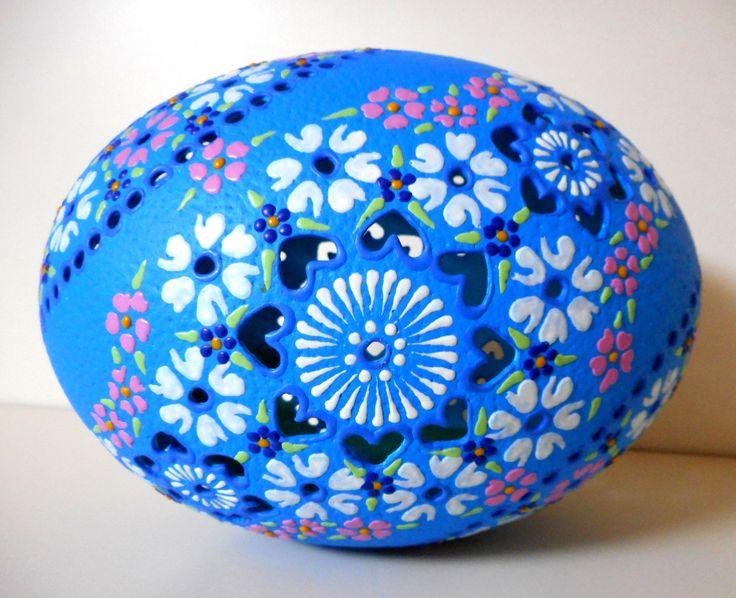 「ダチョウ」ドリル イースター エッグ 1個「ブルー」205   原産国: スロバキア共和国   横外周: 38.8 cm   高さ: 16.5 cm    重量:186 g