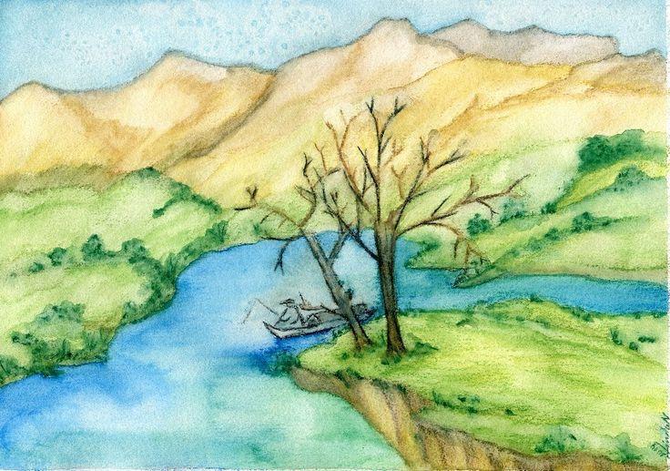 A4,akvarelové pastelky, krajina v horách