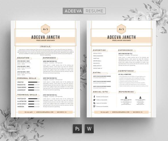 Simple Resume Template Jannah by AdeevaResume on @creativemarket