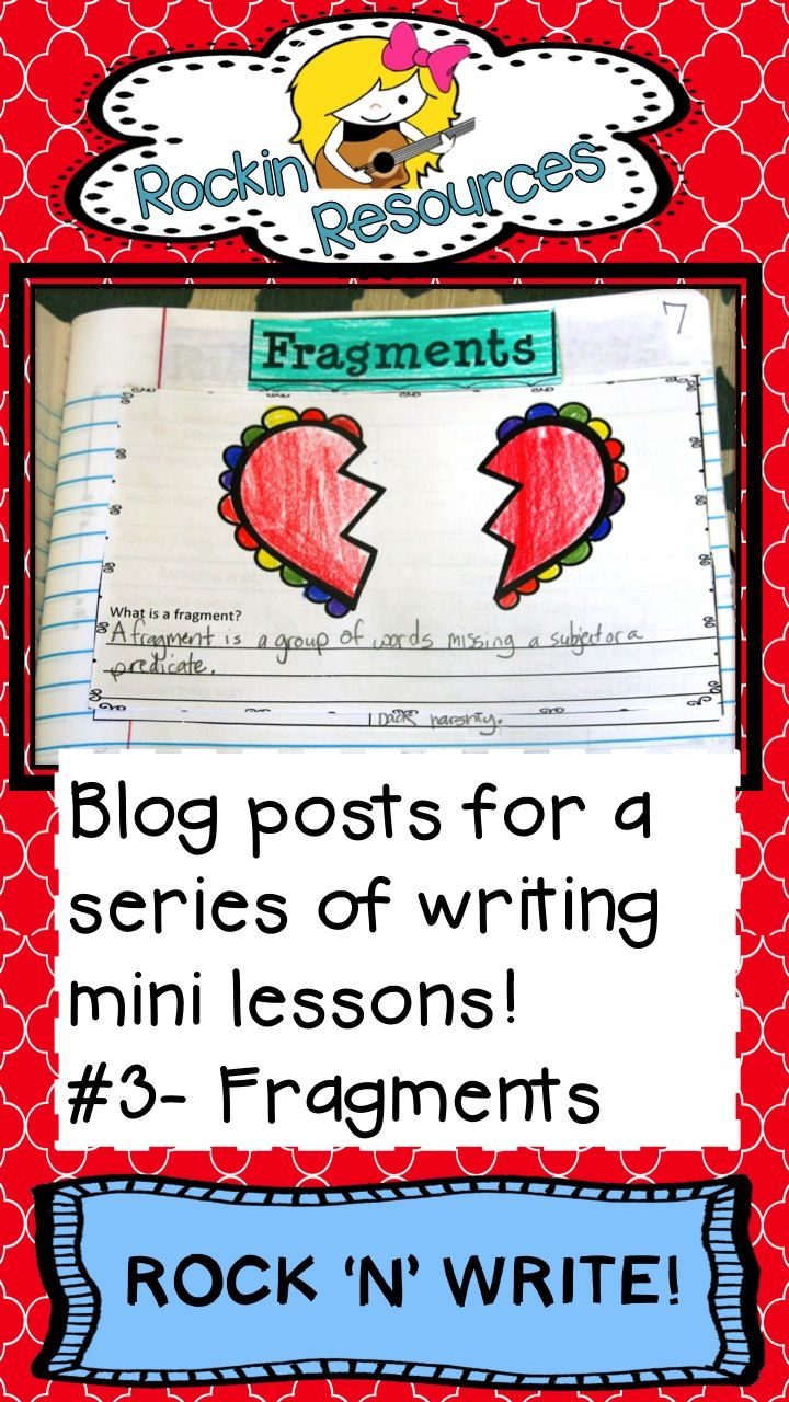 Free Ideas-  Blog post-  Do you need help teaching fragments?  Designed by Rockin Resources