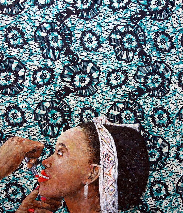 Schilderij. Drukke prints, cirkel en lijnen. Gebruik van één kleur blauw en zwart.