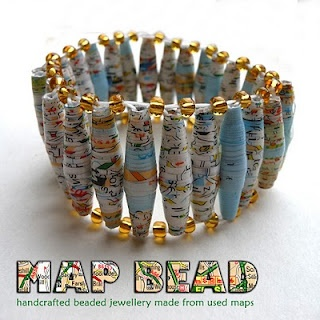 Recycle old maps into bracelets