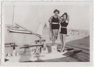 Foto anni 30 Viserba Rimini Bellezze al bagno moscone e barca_Romagna_61
