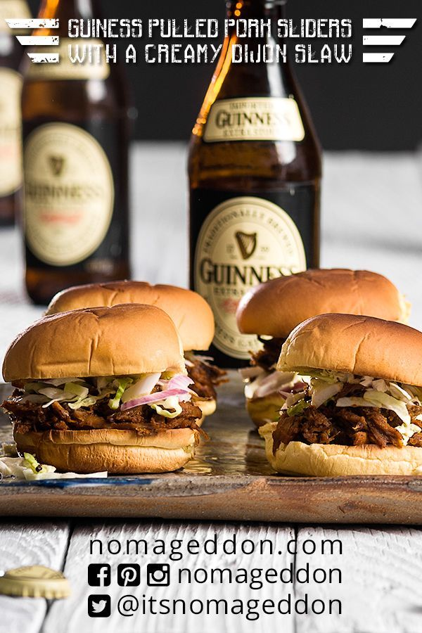 Guinness Pulled Pork Sliders. Sweet, Tangy, and easy on the wallet. Make them for St. Patrick's Day, a family BBQ, or just an easy dinner!