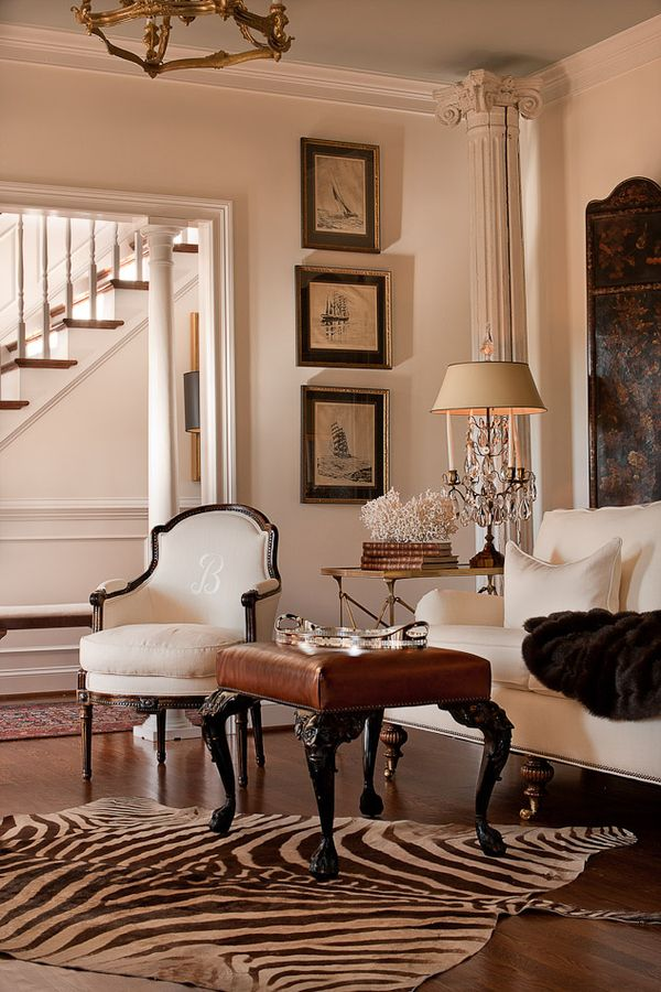 Neutrals great classic neutral room not sure i would for Living room ideas with zebra rug