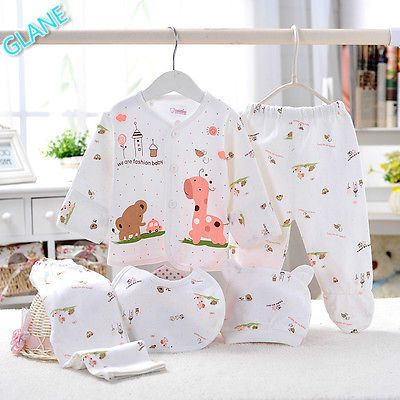 5pc Cotton Newborn Baby clothes Sets 0-3 Month boy girls sleepwear Long Pants