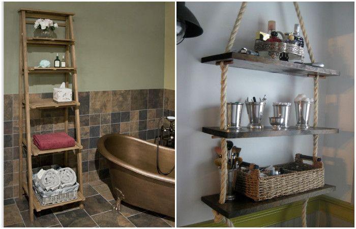 Необычные полки преобразят интерьер ванной комнаты.