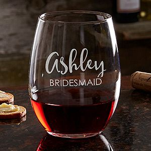 Bridal Party Engraved Stemless Wine Glass 21oz.