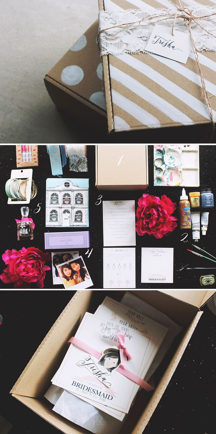 """#DIY """"Will You Be My Bridesmaid?"""" box #tutorial with free printables #wedding"""