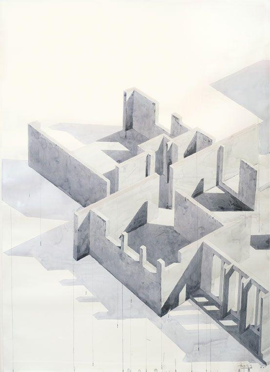 polychroniadis:   Los Carpinteros, 'Casa Con Piscina', (Part 3) 2005. Watercolour and pencil on paper, 200 x 420 x 7cm.