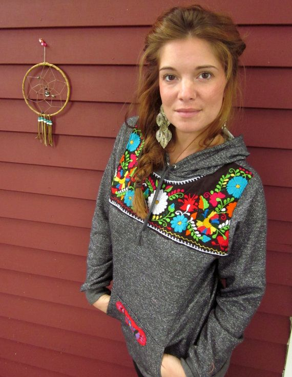 Hello  Gorgeously soft stretchy gray hoodie for the base.  Pullover Style.  Gorgeous Mexican embroidered applique on the front  Embroidered