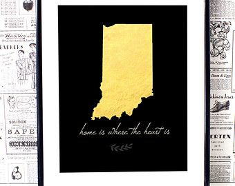 Indiana State Indiana Map Indiana Art Indiana wall by BlessedType
