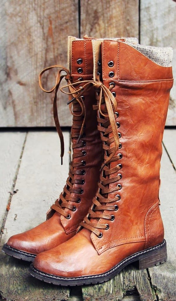 Gorgeous brown leather lace long boots fashion