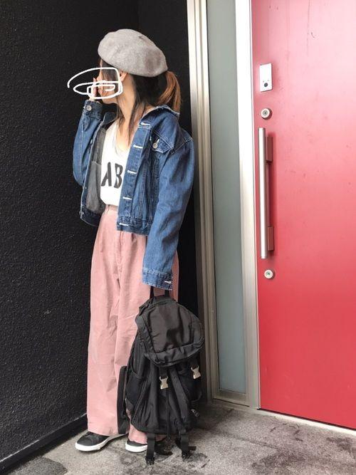 こんにちは(*´▽`*) 今日のコーデです♡ ピンクのコーデュロイワイドパンツに デニムジャケット♡