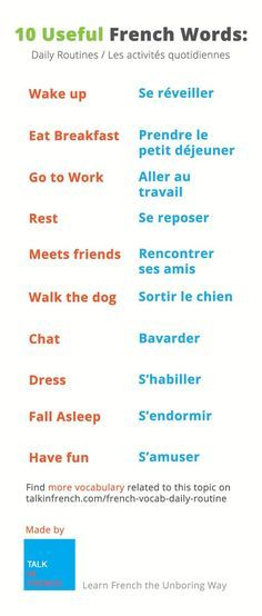 French Vocabulary: What exactly did you do today? Did you take a shower, go to work, meet friends, go home...? This vocabulary list will tell you how to say all that in French. More vocabulary available on this page http://www.talkinfrench.com/french-vocab-daily-routine/ Do not hesitate to share and repin.: