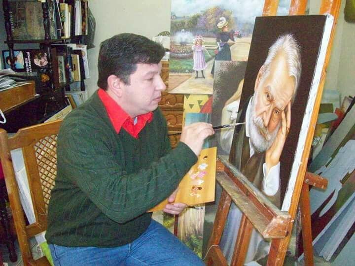 Euzebio Denner pintando retrato do escritor Victor Hugo .