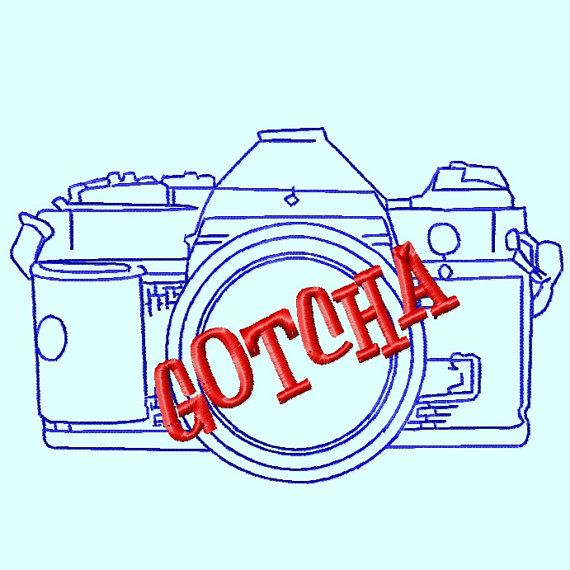 GOTCHA Camera Outline Embroidery Design    by LunaEmbroidery, $3.99,  DT  Let me know if you like this.