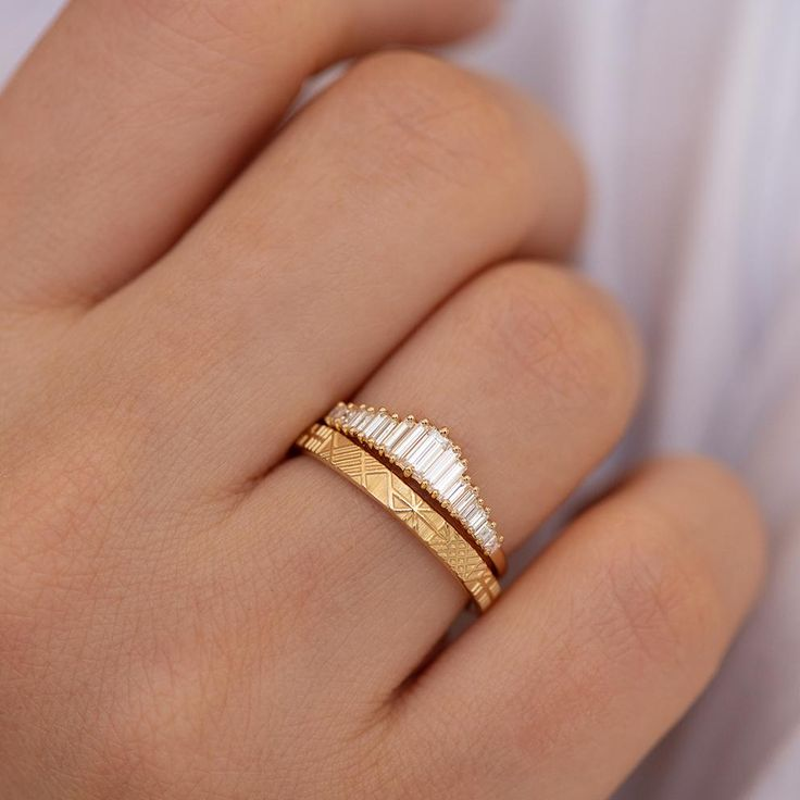 Baguette Diamond Wedding Ring Set