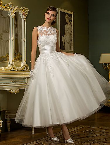 Light In The Box Coupons: A-line Jewel Ankle-length Tulle Wedding Dress