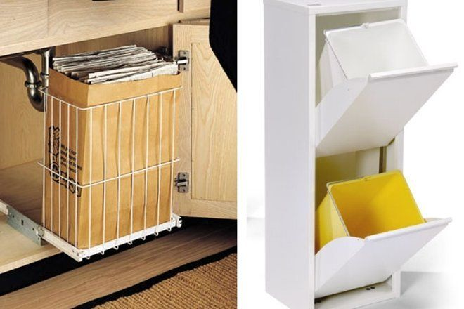 32 best small apartment or home recycling images on for Recycling organization ideas