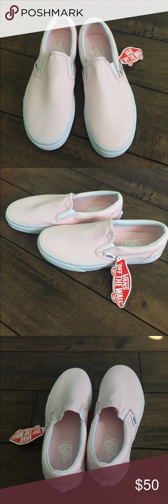 BRAND NEW PINK VANS Brand new with tags. Women's light pink slip on vans. Vans Shoes