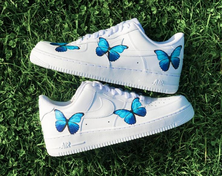 Nike AF1 Air Force 1 Custom Blue 'BUTTERFLY' All Sizes