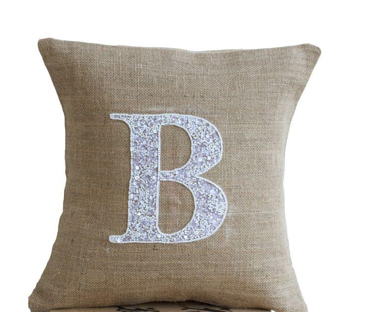 Burlap Monogram Pillow - Customized Sequin Monogram throw pillow- Sequin Throw pillows -14x14- Gift- Alphabet- Monogrammed throw pillow
