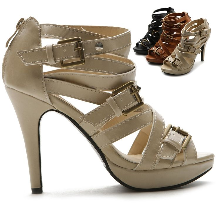 """89.00$  Watch now - http://alizo0.worldwells.pw/go.php?t=32502695674 - """"Khaki Large Size Women Thick Platform Gladiator Sandals Ankle Straps 4.3"""""""" High Heels Sandal Rubber Sole Buckle Ladies Shoes"""" 89.00$"""