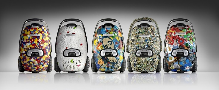 From Left to right: The North Sea Edition, The Indian Ocean Edition, The Mediterranean Sea Edition, The Pacific Ocean Edition, The Baltic Sea Edition. Electrolux Vac from the Sea