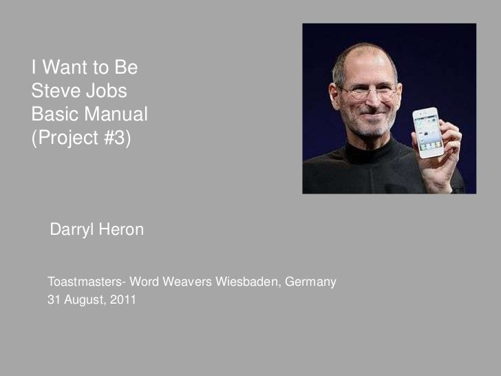 "Can you believe that it has been a year since Steve Jobs died?  Here is a presentation based on a speech that I gave shortly before he died. ""I Want to be Steve Jobs"" by Darryl Heron via Slideshare."