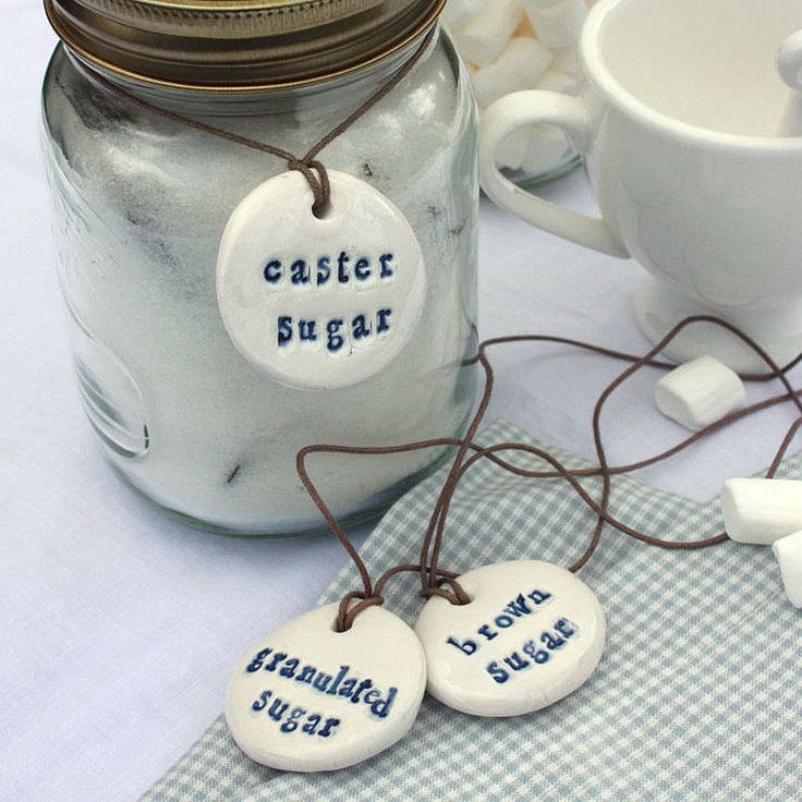 set of three porcelain sugar storage labels by corn-kist ceramics | notonthehighstreet.com