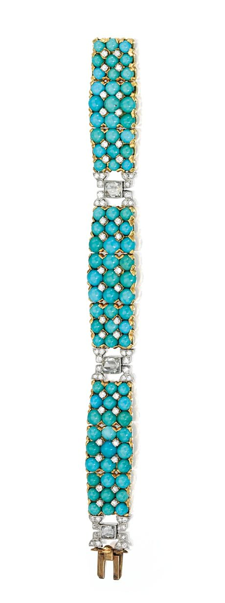 GOLD, PLATINUM, TURQUOISE AND DIAMOND BRACELET, CARTIER, LONDON The flexible strap composed of three panels set with 81 cabochon turquoises, spaced by three rose-cut diamonds and accented throughout by numerous round diamonds, the total diamond weight approximately 3.00 carats, length 7 inches, signed Cartier London, circa 1940.