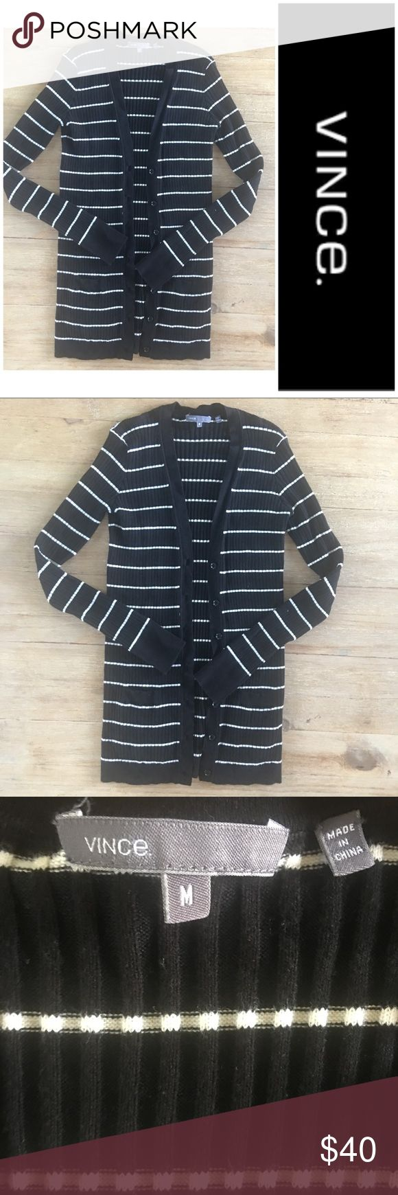 "Vince long black white striped cardigan sweater Vince ribbed black and white striped cardigan sweater.   Approx 28"" long.    100% cotton.  So versatile.   Super comfy and in perfect condition. Vince Tops"