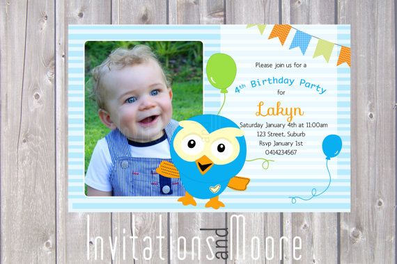 Giggle and Hoot Invitation with photo. Printable