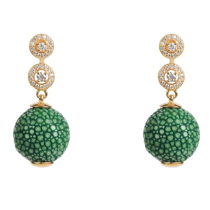 Medusa Collection Stingray Ball Earring With Zircon design Emerald Green