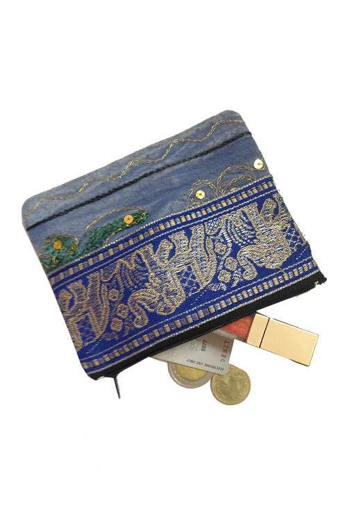 A cute little hand woven one of a kind coin purse with elephant print handmade in Thailand. #offbeatcuts