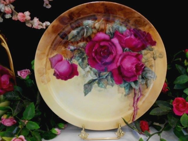 Gorgeous Limoges Charger; Beautiful, Rich Maroon Roses
