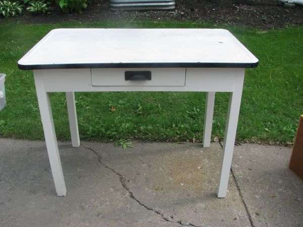 Enamel Top Table Perfect Desk For Boys Room Home Sweet Home Vintage Kitchen Diy Furniture