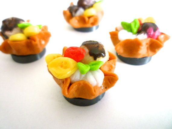 miniature ice cream dessert Mango with fruits hand by ByAzalea, 5.00