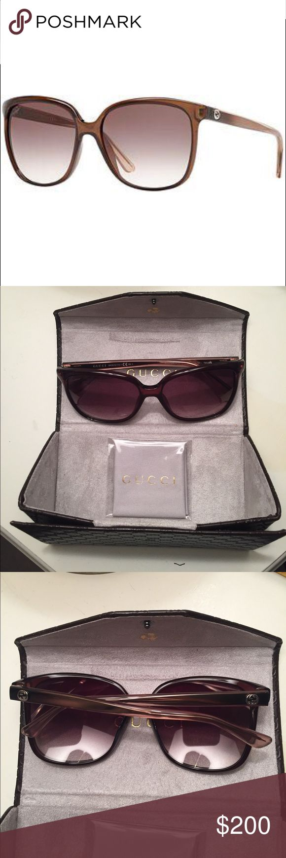 NWOT Gucci cat eye sunglasses Authentic GG3696 brown and rose gold sunglasses. NWOT. Never worn. Comes with case, cleaning cloth and Gucci shopping bag. I just have too many brown sunglasses but this is a perfect oversized pair Gucci Accessories Sunglasses