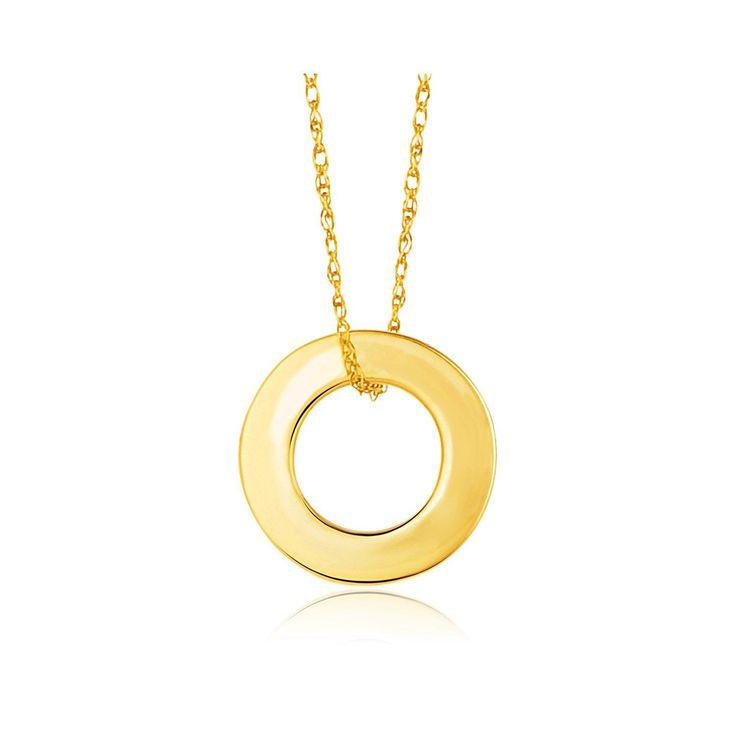 14K Yellow Gold Circle Pendant