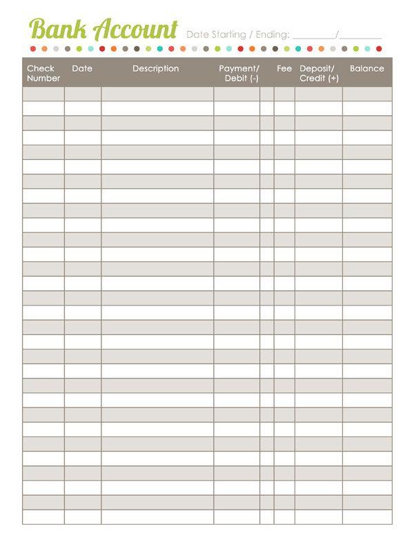 worksheet budget bank register