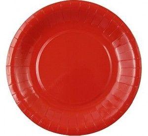 Talerzyki papierowe 6 szt. w kolorze czerwonym.
