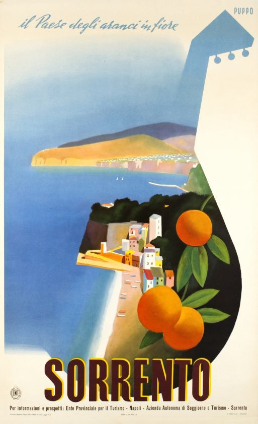 "Puppo / 1952 Sorrento, il paese degli aranci in fiore ""Sorrento, the orange flowers country"" Italian poster by Puppo edited by the ENIT"