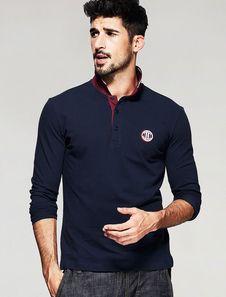 Camisa Casual azul hombres camiseta manga larga algodón bicolor cuello de cobertura