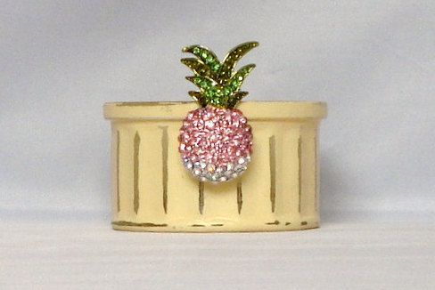 Yellow Glass Candle Holder With Diamante Pineapple Decoration Trinket Pot Serving Dish Table Candle Centrepiece Garden Candle Pinch Pot by LouLaBelleG on Etsy