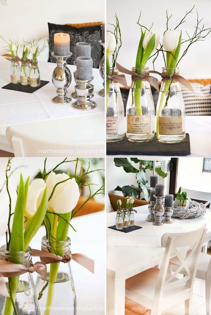 liebelein-will: Tulpenzeit & Tulpenliebe im Hochzeitsblog Einzelne Tulpen in flaschen