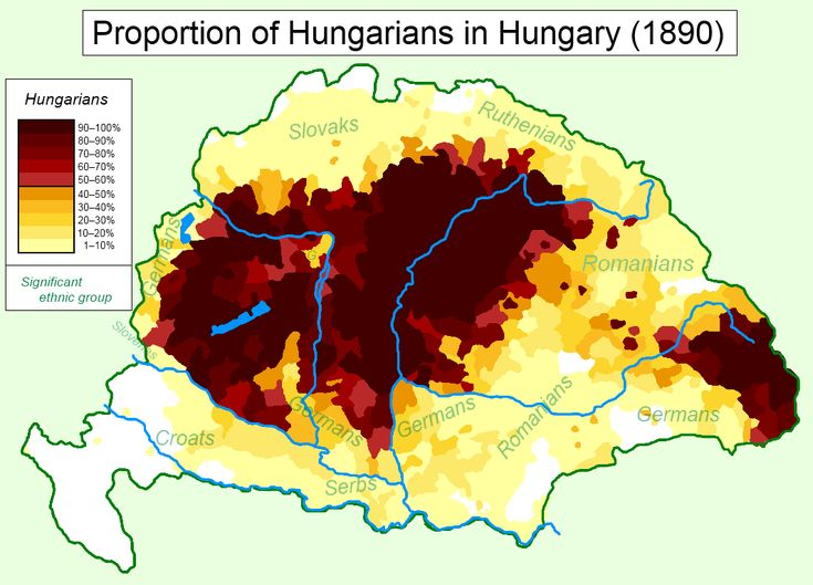Hungarians in Hungary (1890) - other significant ethnic groups are labeled