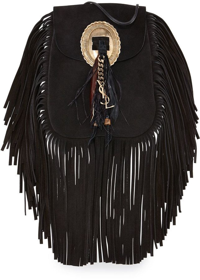 Saint Laurent Anita Small Suede Fringe Flat Bag c115d2168f54a